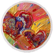 Abstract Valentines Love Hearts Round Beach Towel by Julia Apostolova