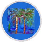Abstract Venice Palms Round Beach Towel