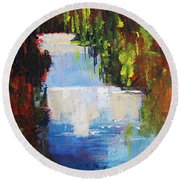 Abstract Waterfall Painting Round Beach Towel