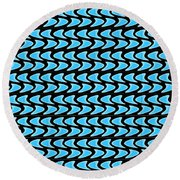 Abstract Waves On A Black Background Round Beach Towel