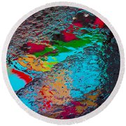Abstract Wet Pavement Round Beach Towel