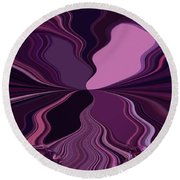 Abstract Wings In Plum Round Beach Towel