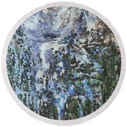 Abstract Winter Landscape Round Beach Towel