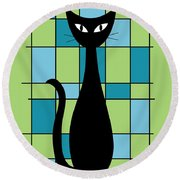 Abstract With Cat In Green Round Beach Towel