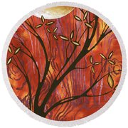 Abstract Wood Pattern Painting Original Landscape Art Moon Tree By Megan Duncanson Round Beach Towel