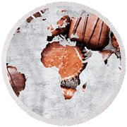 Abstract World Map - Chocolates - Confections - Candy Shop Round Beach Towel