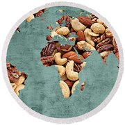 Abstract World Map - Mixed Nuts - Snack - Nut Hut Round Beach Towel