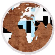 Abstract World Map - Which Way Is Up - Painterly Round Beach Towel