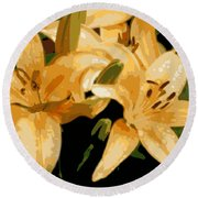 Abstract Yellow Asiatic Lily - 1 Round Beach Towel