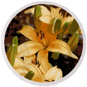 Abstract Yellow Asiatic Lily - 2 Round Beach Towel