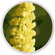 Abstract Yellow Lupine Round Beach Towel