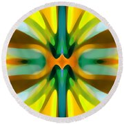 Abstract Yellowtree Symmetry Round Beach Towel by Amy Vangsgard