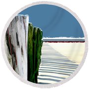 Abstracted Beach Dune Fence Round Beach Towel