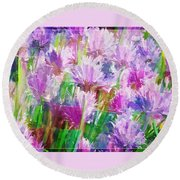 Abstracted Clovers Round Beach Towel