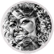 Abstracted Lady Round Beach Towel
