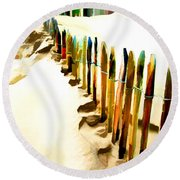 Abstracted March Of The Colored Dune Fence Round Beach Towel