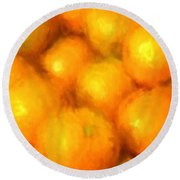 Abstracted Oranges Round Beach Towel