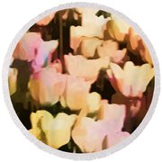 Abstracted Tulips Round Beach Towel