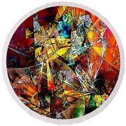 Abstraction 0526 Marucii Round Beach Towel