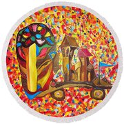 Abstraction 445 - Marucii Round Beach Towel