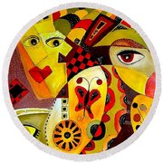 Abstraction 673 - Marucii Round Beach Towel