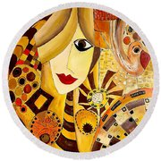 Abstraction 676 - Marucii Round Beach Towel