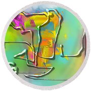 Abstraction 702 -marucii Round Beach Towel