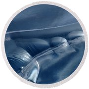 Abstraction In Blue Round Beach Towel