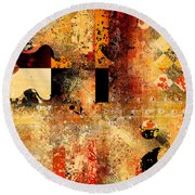 Abstracture - 103106046f Round Beach Towel by Variance Collections