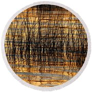 Abstract Reed And Water Patterns Round Beach Towel