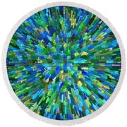 Abstrract Cubes Blue Round Beach Towel