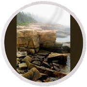 Acadia Morning 7647 Round Beach Towel