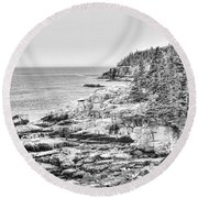Acadia National Park In Bw Round Beach Towel