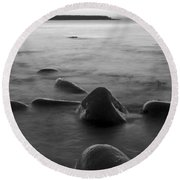 Acadia National Park Shoreline Sunrise Wakeup Black And White Round Beach Towel