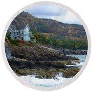 Acadia Seaside Mansion Round Beach Towel
