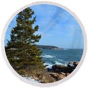 Acadian Shores In Winter Round Beach Towel