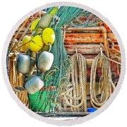Accessories To Shrimp Catching Round Beach Towel