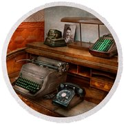 Accountant - Typewriter - The Accountants Office Round Beach Towel by Mike Savad