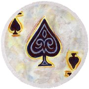 Ace Of Spades Round Beach Towel