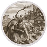 Achelous In The Shape Of A Bull Round Beach Towel