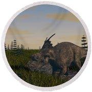 Achelousaurus Grazing In Swamp Round Beach Towel