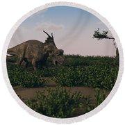 Achelousaurus Walking Amongst Swamp Round Beach Towel