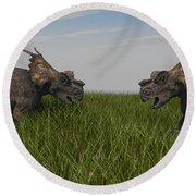 Achelousauruses Confrontation In Swamp Round Beach Towel