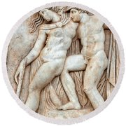 Achilles And Penthesilea Round Beach Towel