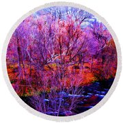 Acid By The Creek Round Beach Towel