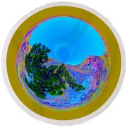 Acid Desert Orb Round Beach Towel