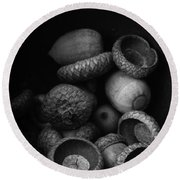 Acorns Black And White Round Beach Towel