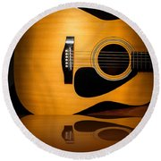 Acoustic Guitar Reflected Round Beach Towel