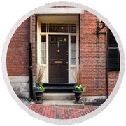 Acorn Street Door And Lamp Round Beach Towel