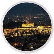 Acropolis At Night Round Beach Towel